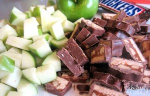 chopped apples and snickers for caramel apple salad