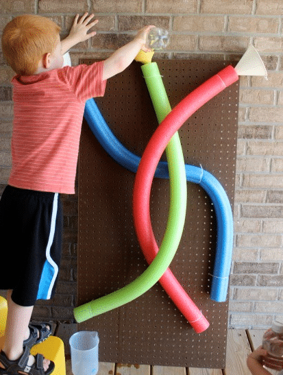 water wall with pool noodles