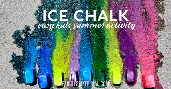 DIY ice chalk fun summer activity for kids