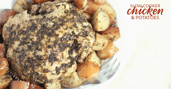 Slow cooker chicken and potatoes finished