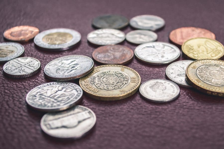 Coins on leather