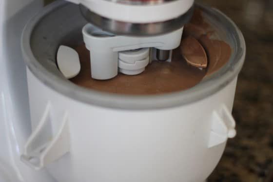 Churning the ice cream with the Kitchenaid ice cream maker attachment