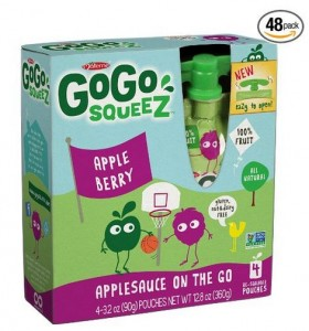 GoGo squeeZ Appleberry, Applesauce On The Go, 3.2-Ounce Pouches Pack of 48