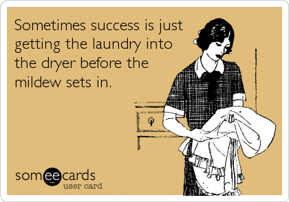 Sometimes success is just getting the laundry into the dryer before the mildew sets in