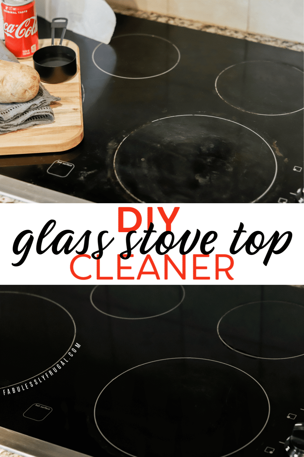 Before and after using homemade glass stove top cleaner