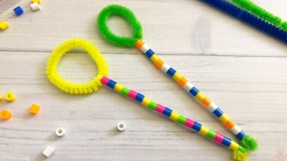 Colorful bubble wands with beads and pipe cleaners