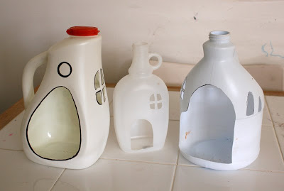 Mini houses made from milk jugs