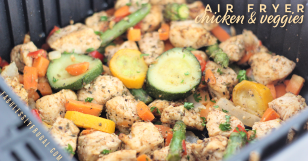 air fryer chicken and veggies