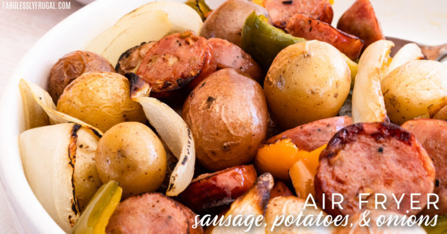 Easy and Flavorful air fryer sausage, potatoes, and onions is your next simple go to dinner! Ready in under half an hour